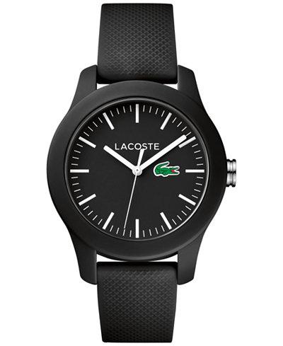 Lacoste Women's 12.12 Black Rubber Strap Watch 38mm 2000956