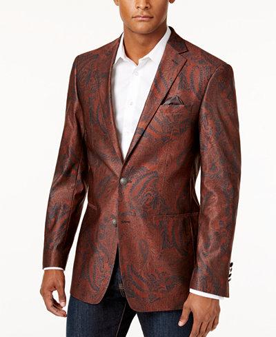 Tallia Men's Slim-Fit Brick Black Paisley Sport Coat