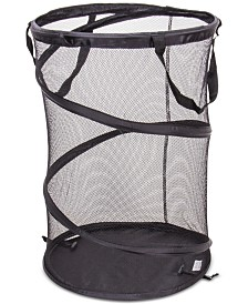 Household Essentials Hamper with Mesh Band, Black