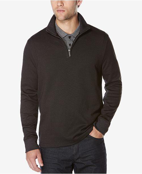 f1d03f0623 Perry Ellis Men s Jacquard Quarter-Zip Sweater - Sweaters - Men - Macy s