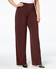Alfani Plus & Petite Plus Size Wide-Leg Soft Pants, Created for Macy's