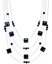 INC International Concepts Silver-Tone Jet Stone Four Layer Statement Necklace, Created for Macy's