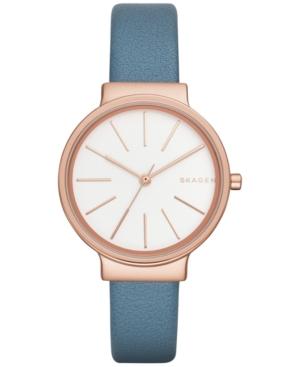 Skagen Women's Ancher Blue Leather Strap Watch 30mm SKW2482