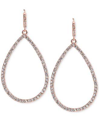 Lauren Ralph Lauren Rose GoldTone Pav Open Teardrop Drop Earrings