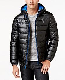 Men's Faux-Leather Puffer Coat