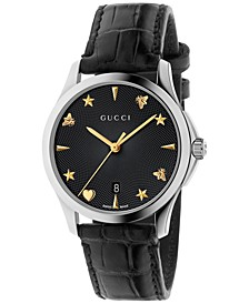 Women's Swiss Automatic G-Timeless Black Alligator Leather Strap Watch 38mm YA126469