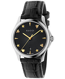 Gucci Women's Swiss Automatic G-Timeless Black Alligator Leather Strap Watch 38mm YA126469