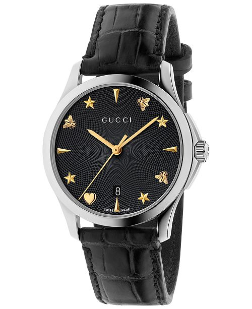 274a5dd8c26 Gucci Women s Swiss Automatic G-Timeless Black Alligator Leather Strap  Watch 38mm YA126469 ...