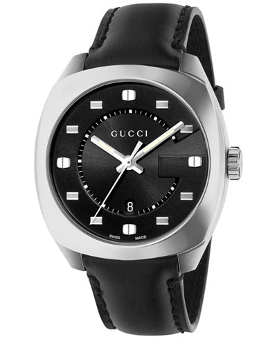 Gucci Men's GG2570 Swiss Black Leather Strap Watch 41mm YA142307