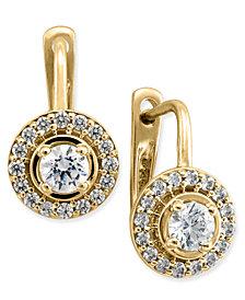 Diamond Halo Leverback Earrings (1/2 ct. t.w.) in 14k Yellow Gold