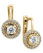 230d8b0390ae Diamond Halo Leverback Earrings (1 2 ct. t.w.) in 14k Yellow Gold