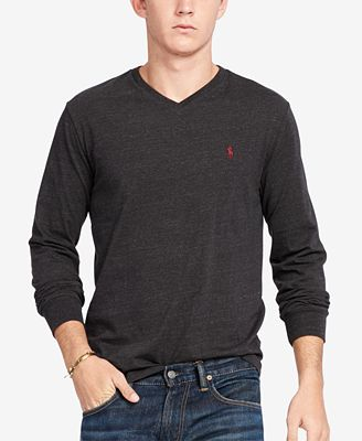 Polo Ralph Lauren Men's V-Neck Long-Sleeve Cotton Shirt - T-Shirts ...