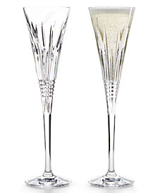 Waterford Stemware, Lismore Diamond Script Letter Monogram Toasting Flutes, Set Of 2