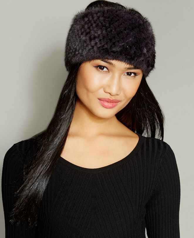 The Fur Vault Knitted Mink Fur Headband