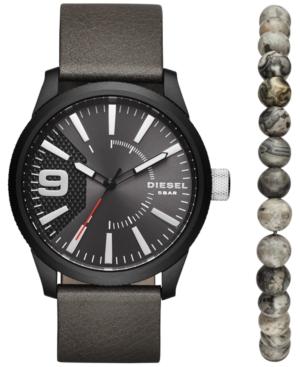 Diesel Men's Rasp Gray Leather Strap Watch & Beaded Bracelet Set 46x53mm DZ1776
