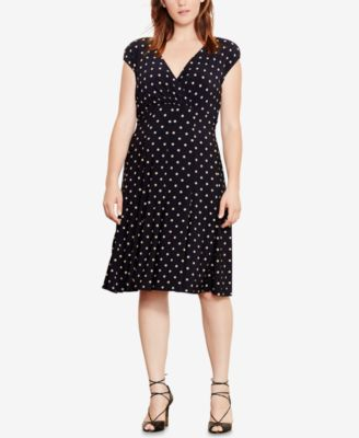 Lauren Ralph Lauren Plus Size Polka-Dot-Print Jersey Dress
