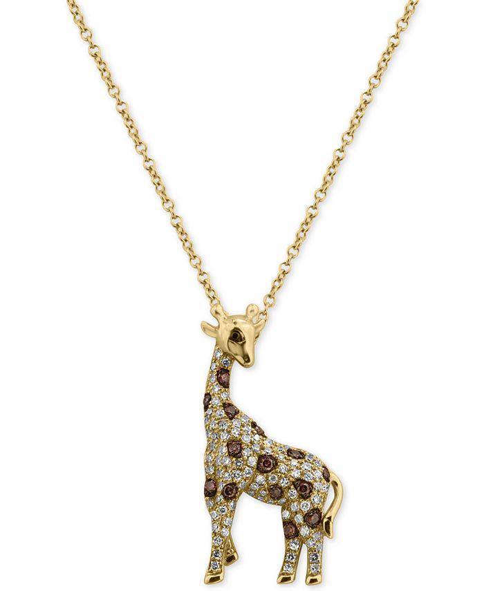 EFFY Collection - Diamond Giraffe Pendant Necklace (3/8 ct. t.w.) in 14k Gold
