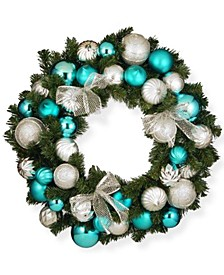 "30"" Silver and Blue Mixed Ornament Wreath"