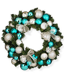 """National Tree Company 30"""" Silver and Blue Mixed Ornament Wreath"""
