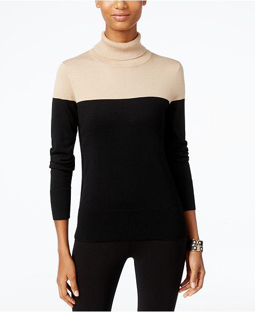 Cable Gauge Colorblocked Turtleneck Sweater Sweaters Women