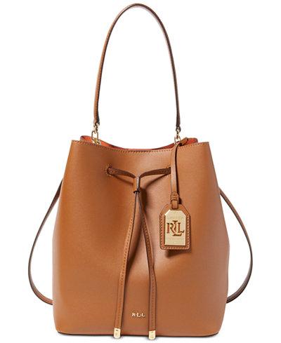 Lauren Ralph Lauren Debby Leather Drawstring Bag - Handbags ...