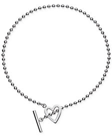 Gucci Women's Sterling Silver Heart Toggle Necklace YBB18430200100L