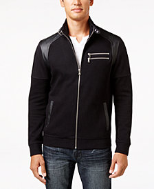 I.N.C. Men's Fire Knit Moto Jacket, Created for Macy's