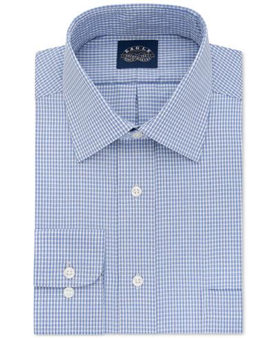 Eagle Men's Classic-Fit Stretch Collar Non-Iron Blue Check Dress Shirt