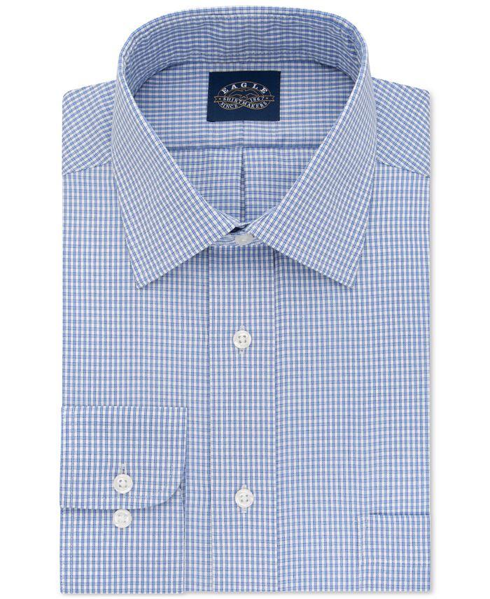 Eagle - Men's Classic-Fit Non-Iron Blue Check Dress Shirt