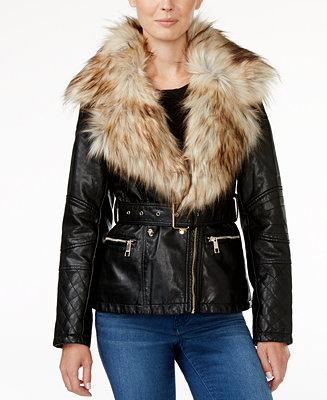 4d19d72a077f GUESS Tori Faux-Fur-Trim Faux-Leather Jacket   Reviews - Jackets   Blazers  - Women - Macy s