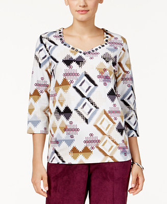 Alfred dunner petite classics printed beaded top all for Alfred dunner wedding dresses