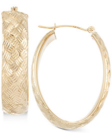 Wide Textured Oval Hoop Earrings in 14k Gold, White Gold or Rose Gold