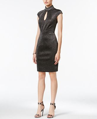 JAX Mock-Neck Metallic Sheath Dress