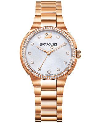 Swarovski Women's Swiss City Mini Rose Gold-Tone Stainless Steel Bracelet Watch 32mm 5221176
