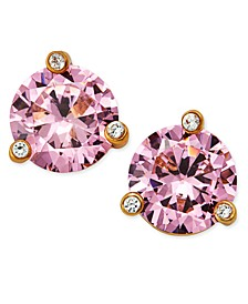Gold-Tone Pink Stone and Crystal Stud Earrings