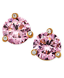 kate spade new york Gold-Tone Pink Stone and Crystal Stud Earrings