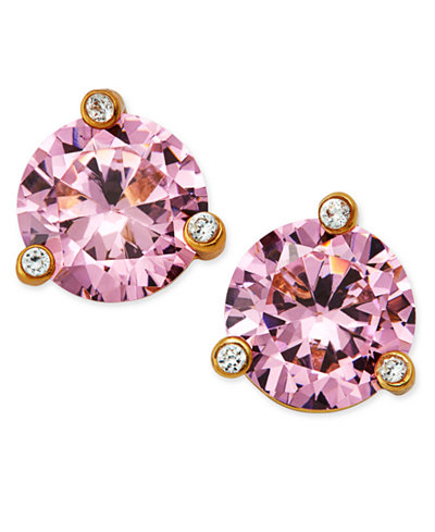 Kate Spade New York Gold Tone Pink Stone And Crystal Stud Earrings