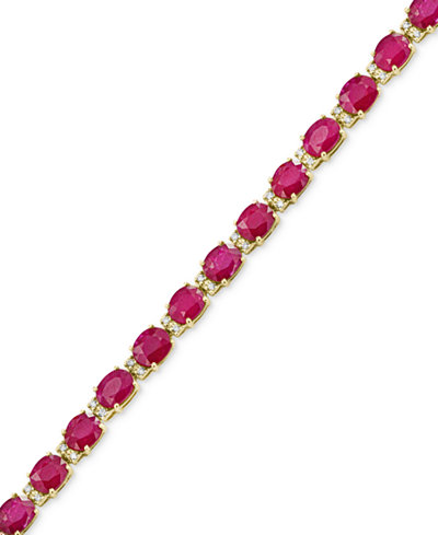 Amoré by EFFY® Certified Ruby (12 ct. t.w.) and Diamond (1/4 ct. t.w.) Tennis Bracelet in 14k Gold, Created for Macy's