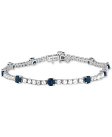 Blue Sapphire (3-3/8 ct. t.w.) and White Sapphire (3-1/2 ct. t.w.) Tennis Bracelet in Sterling Silver