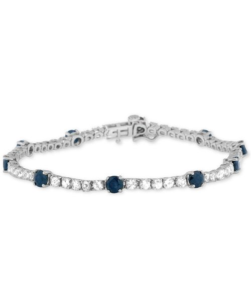Macy's Blue Sapphire (3-3/8 ct. t.w.) and White Sapphire (3-1/2 ct. t.w.) Tennis Bracelet in Sterling Silver