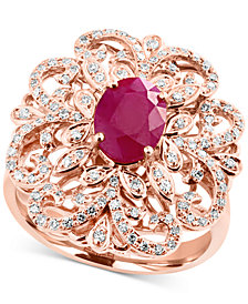 Amoré by EFFY® Certified Ruby (1-3/8 ct. t.w.) and Diamond (3/8 ct. t.w.) Statement Ring in 14k Rose Gold, Created for Macy's