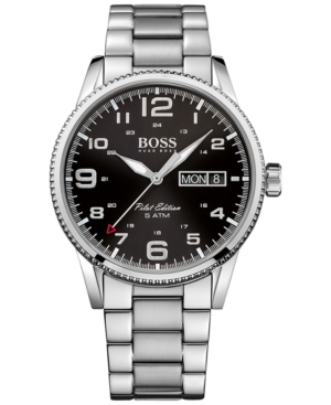 Boss Hugo Boss Men's Pilot Vintage Stainless Steel Bracelet Watch 44mm 1513327