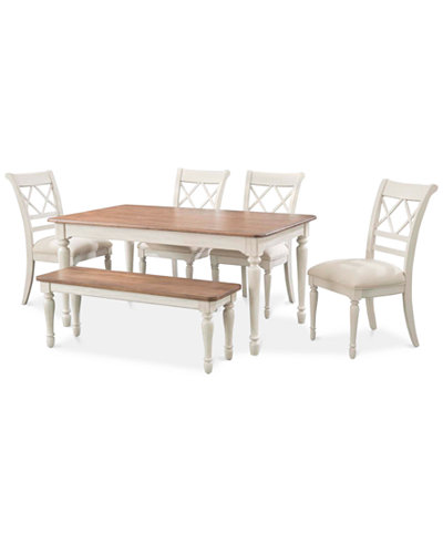 Cape may dining set 6 pc table 4 side chairs bench for Macys dining table