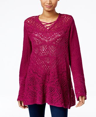 Style & Co. Pointelle Tunic Sweater, Only at Macy's