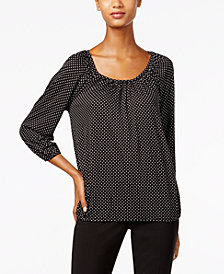 MICHAEL Michael Kors Printed Peasant Top in Regular & Petite Sizes
