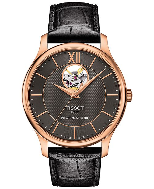 3599f2ef854 Tissot Men s Swiss Automatic Tradition Powermatic 80 Black Leather Strap  Watch 40mm T0639073606800 ...