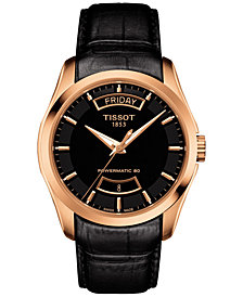 Tissot Men's Swiss Automatic Couturier Powermatic 80 Black Leather Strap Watch 39mm T0354073605101