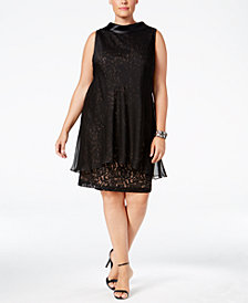 SL Fashions Plus Size Sequined Lace Chiffon-Overlay Dress