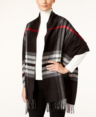 Charter Club Exploded Plaid Blanket Wrap & Scarf in One, Created for Macy's