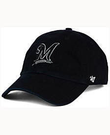 '47 Brand Milwaukee Brewers Black White Clean Up Cap